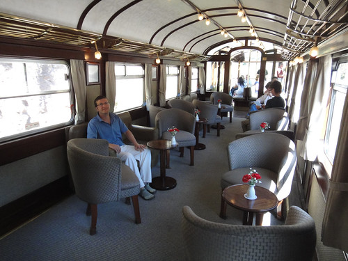 Dusty in the Bar Car on Peru Rail's Andean Explorer