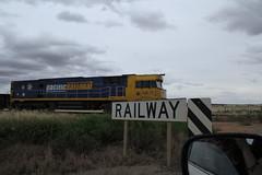 freight train crosses the barrier hwy (eldon2042) Tags: sky sign rural train crossing diesel railway australia roadsigns roadside freight rollingstock railwaycrossings