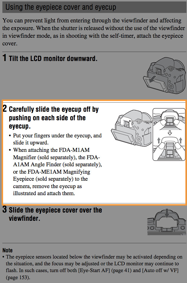 Instructions for using the Sony FDA-M1AM 2.3X Viewfinder Magnifier, Sony FDA-A1AM Angle Finder and Sony FDA-ME1AM Magnifying Eyepiece on page 34 of the Sony A580 Manual