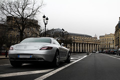 SLS in Bordeaux ([ JR ]) Tags: auto street france car sport canon eos grey gris mercedes benz town theatre strasse bordeaux engine grand spot voiture exotic 17 28 50 tamron rue supercar v8 ville spotting sls amg sighting archi alle gironde 550d fialeix