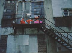 Kickboxing (Tanner Almon) Tags: abandoned film stairs costume factory fuji maryland mini staircase instant tanner furball almon whimsical instax ellicotcity furballs instantfilm cheki fujiinstaxmini tanneralmon checki55 mymomreviewsmyphotos