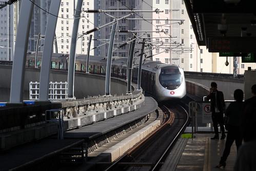 Train arriving into Tai Shui Hang station