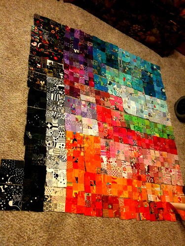 Postage stamp charm quilt - work in progress