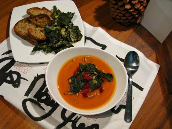 butternut squash soup kale 001
