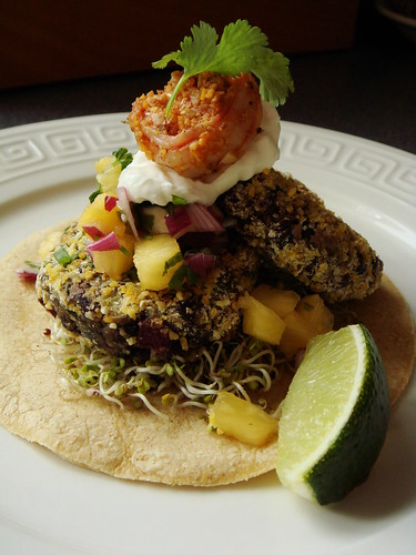 Black Bean Cake with Spicy Shrimp & Pineapple Salsa