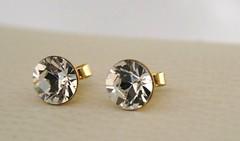 Swarovski Earrings Clear Crystal Gold Round Diamonds