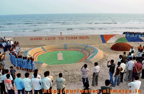 World's longest sand cricket bat on Puri beach