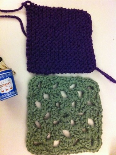 First two squares for our charity knitting project.