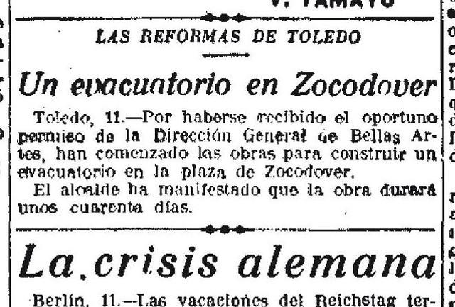 12 de enero de 1926. La Libertad anuncia el comienzo de las obras de los urinarios de Zocodover