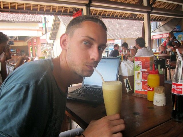 Boris Having His First Banana Juice In Indonesia