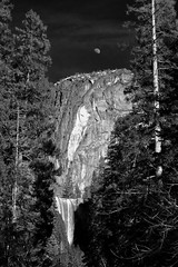 Moon and Vernal Fall, Yosemite, CA, USA