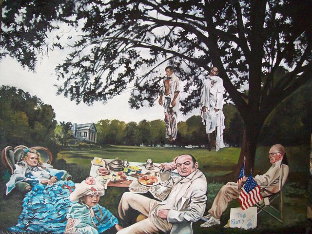 Gerald Griffin Tea Party oil on masonite 32quotx40quot 2011 by Gallery Guichard Online Gallery