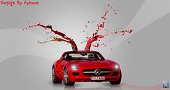 Mercedes-Benz  SLS (ayman_ay17) Tags: red wallpaper art cars car by photoshop 1 design paint graphic f1 mercedesbenz formula tossing sls amg ayman designed 2011 cs5