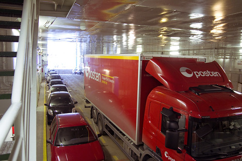 Cars and trucks on the ferry