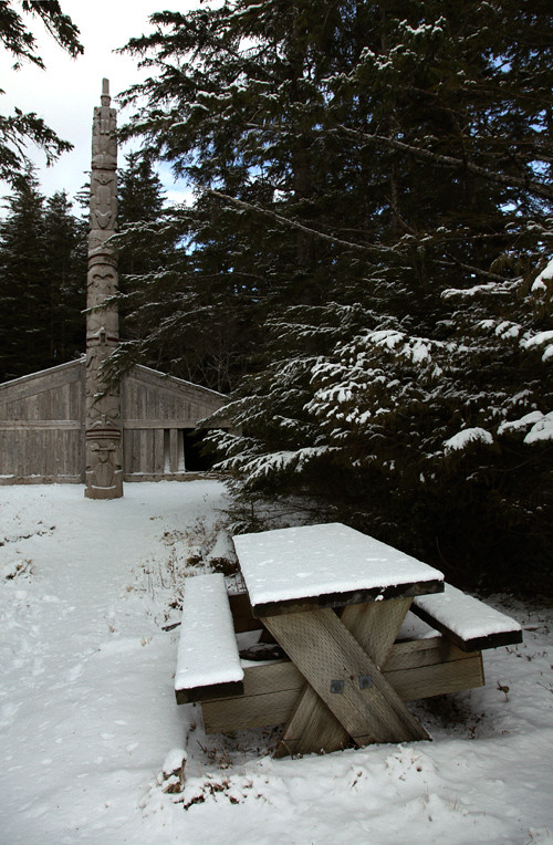 snow but no picnic at Chief Son-i-Hat Whale House, Kasaan, Alaska