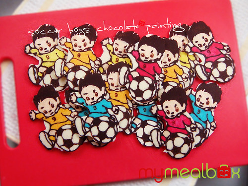 Soccer boys chocolate painting