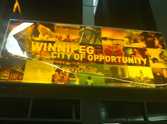 winnipeg city of opportunity sign at the WAA