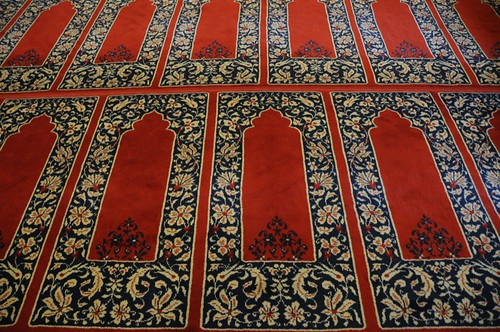 Continuous carpets all facing Mecca