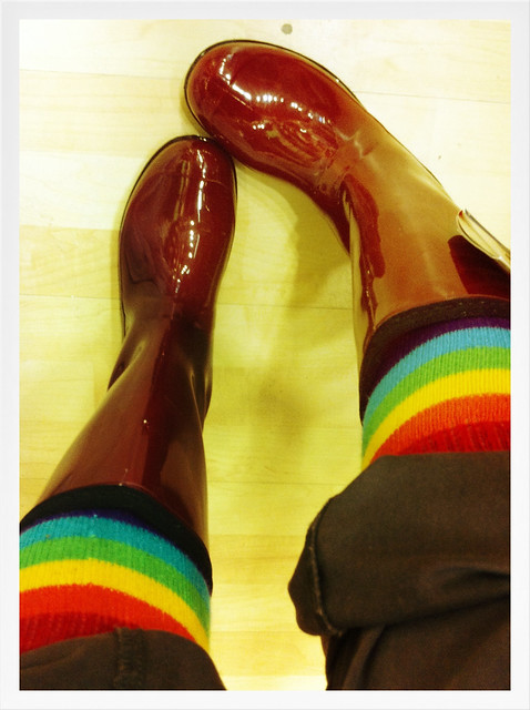 rainbow toe socks plus ruby red rubber boots!