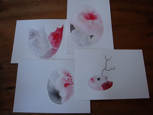 egg studies in red