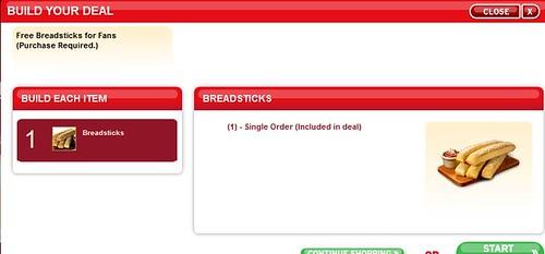 Free breadsticks from PizzaHut