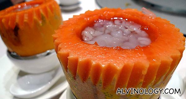 Xue Ge or Hashima, boiled in papaya for dessert