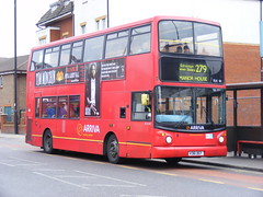 Arriva London North . DLA161 V361DGT . High Street , Ponders End , London . Saturday 05th-March-2011 . (AndrewHA's) Tags: bus alexander londonbus daf arriva pondersend alx400 arrivalondon db250lf dla161 v361dgt route279