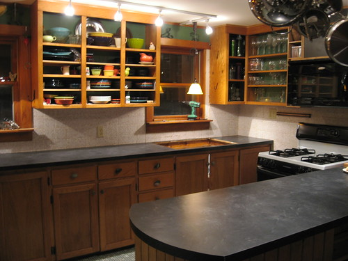 Mix Butcher Block and Oiled Soapstone Laminate in Small Kitchen?