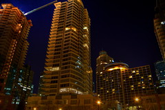 buildings and hotels (Eyesplash - Summer was a blast, for 6 million view) Tags: camera longexposure architecture night lights construction exposure action sails icon burrardinlet coalharbour starburst canoneos7d