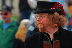 True Market Businessman (Ian Sane) Tags: park street old bridge red man true hat businessman tom river hair portland ian photography glasses town colorful downtown waterfront market candid side profile feather saturday governor willamette burnside sane mccall ankeny