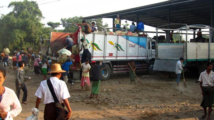 Unloading a Lorry, Myanmar