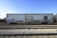 ERUPTO | EARS | RIVER | CURVE (grbenching) Tags: railroad cold art car train river bench graffiti paint ears trains spraypaint graff curve railyard freight bnsf reefer spraycan freights erupto rollingstock benching