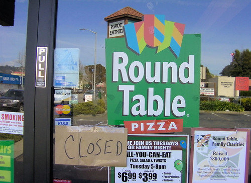 A look at the door told a different story, with a hastily lettered and fastened sign announced the location was Closed. The Albany pizza parlor is an apparent victim of the parent chain's recent bankruptcy.