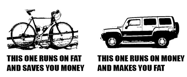 This one runs on fat and saves you money.  This one runs on money and makes you fat.
