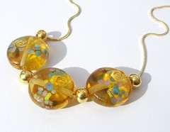Golden Coins Necklace (Glittering Prize - Trudi) Tags: uk glass golden necklace beads coins jewellery jewelery trudi lampwork sra gbuk glitteringprize fhfteam britlamp