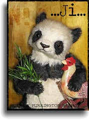 ~ Ji ~ (Denise Purrington {{say hello to my Little Bears:)) Tags: stuffed panda chinese bamboo mohair teddybear rooster collectible jointed