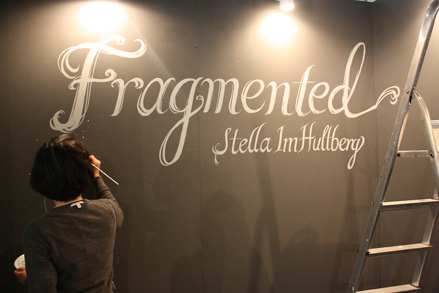 painting the title wall/mini mural for the show