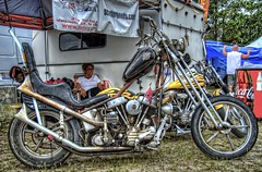 Interesting Chopper (Carolinadoug) Tags: bike nc nikon northcarolina harley harleydavidson motorcycle hd pan hdr bikeshow panhead topaz smokeout photomatix thehorse dougjohnson d700 topazadjust thehorsemagazine smokeout2010 smokeoutxi smokeout11