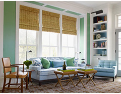 Crisp blue + green living room: Benjamin Moore 'Cedar Green' (SarahKaron) Tags: blue house inspiration green home design paint interior room livingroom decorating decor greenroom housebeautiful benjaminmoore greenpaint paintcolors paintideas stevengambrel greenlivingroom