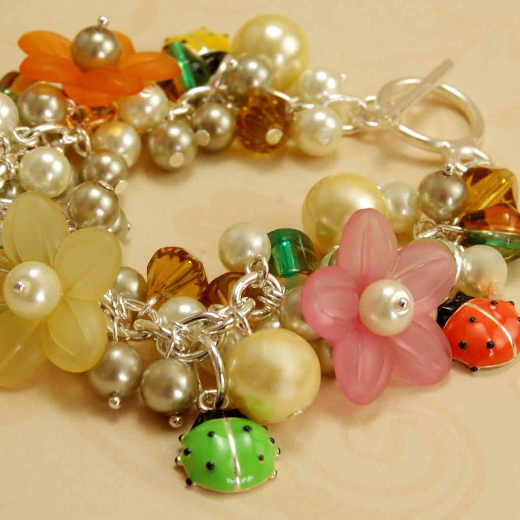 Lady Bug and Flower Charm Bracelet