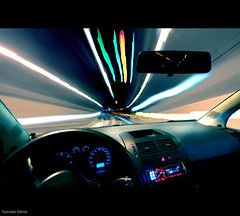 speed of light (Gonzalo Dniz) Tags: 2011 camaras construcciones d90 laspalmasdegc lugares marzo municipios nikon sigma1020 coche tunel luces velocidad car speed light carretera road conducir drive