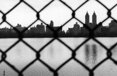 New York's Central Park Reservoir Looking West  At The Upper West Side Thru A Fence; New York, NY (hogophotoNY) Tags: park nyc newyorkcity newyork water fence centralpark manhattan reservoir upperwestside nyny bigapple newyorknewyork centralparknewyork thebigapple centralparkreservoir centralparkny newyorkcentralpark centralparknewyorkcity hogo newyorkcitypark hogophoto nycfence nyfence