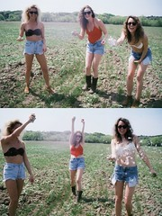 Silly Stringin in Jean Shorts (LindseyL33) Tags: girls silly film beautiful field grass hair fun skinny big crazy texas legs boots gorgeous country bra models jeans blonde string shorts tall brunette teased