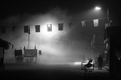 4AM at Makhan Babur Bazar bus stop, Haldia Township (jepoirrier) Tags: morning bw white black bus flag smoke communist stop 4am bazar township babur makhan haldia