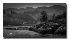cottage in the rain (jeremy willcocks) Tags: cottage rain blackandwhite mono misty loch water island scotland scottish uk landscape tree rocks grumpy jeremywillcocks wwwsouthwestscenesmeuk fujixt1 xf50140mm