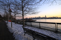 (pmarella) Tags: park city nyc newyorkcity trees sky urban usa color water skyline sunrise fence reflections river bench landscape lights newjersey solitude cityscape shadows manhattan nj silhouettes whatever viewlarge pmarella metropolis hudsonriver empirestate tranquil hoboken donttrythisathome hudsoncounty sigma1020mm amomentintime anotherdayinparadise throughmyglasseye riverviewpkproductions icoverthewaterfront myeyeshaveseenthis eos7d