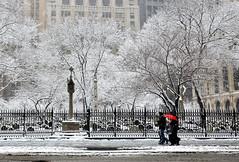 Red Umbrella (nydlux) Tags: nyc newyorkcity winter snow cemetery nikon trinitychurch 1685mm d7000