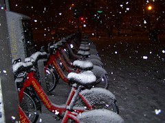 Snowing on the bike sharing station, 700 block of Pennsylvania Ave. SE