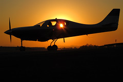 Lancair Silhouette (Trent Bell) Tags: california sunset silhouette plane airplane airport aircraft cable socal ivp upland lancair 2011 n254rw