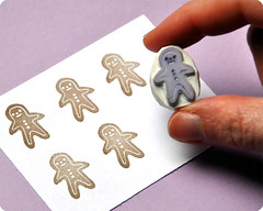 Gingerbread man hand carved rubber stamp